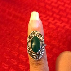 Jade and Marcasite Antique Ring